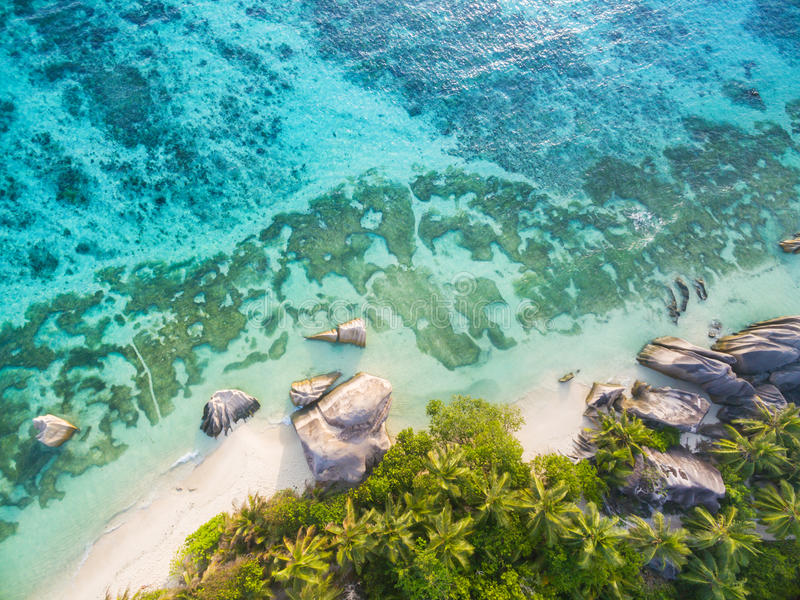 Aerial photo of Seychelles beach at La Digue stock image