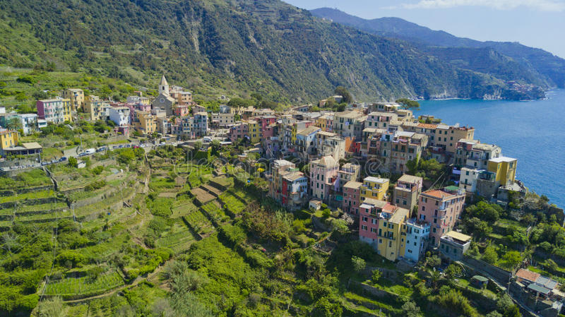 Aerial photo shooting with drone on Corniglia one of the famous Cinqueterre stock image