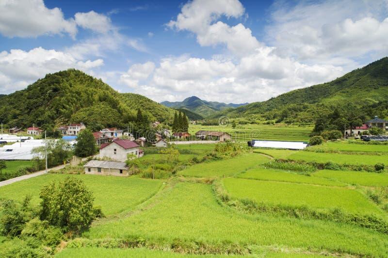 Aerial photo shows rural pastoral scenery of ningguo city, xuancheng city, anhui province, China. A bird`s eye view of gulin village, wangxi town, ningguo city royalty free stock photo