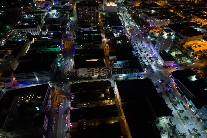 Aerial night scene South Beach Miami Florida. Aerial photo of South Beach Miami Florida at night royalty free stock image