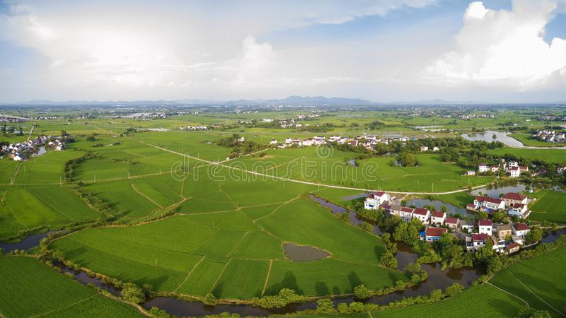Aerial photo of summer rural ecological pastoral scenery in  xuancheng city, anhui province, China royalty free stock image