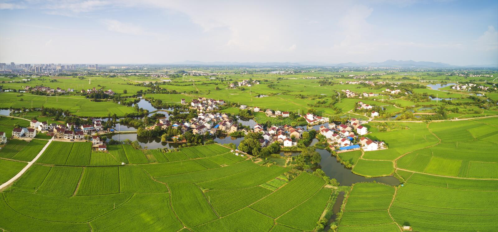 Aerial photo of summer rural ecological pastoral scenery in  xuancheng city, anhui province, China stock images