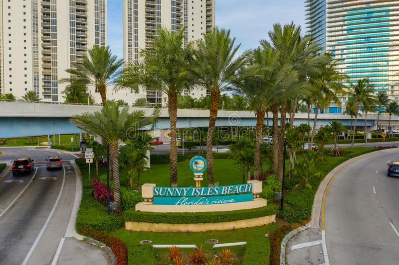 Aerial photo Sunny Isles Beach Florida Welcome Sign. USA royalty free stock photos