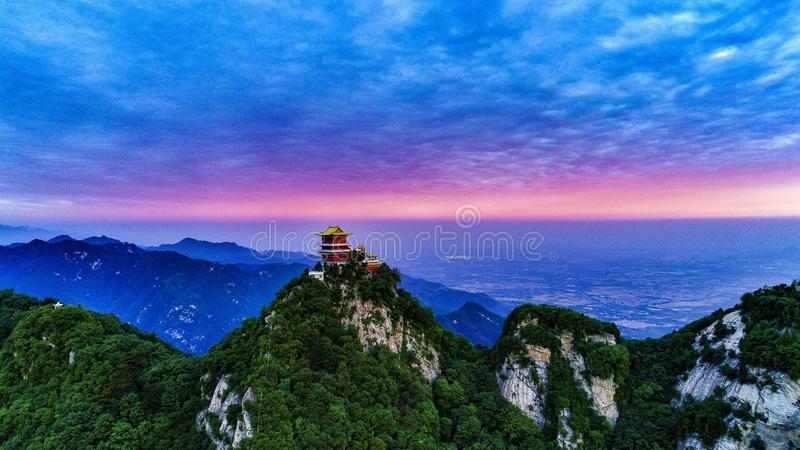 Sunrise of Wutai Mountain in Southern Qinling Mountains, Shaanxi Province, China. 2018 Aerial Photo of Sunrise in Wutai Mountain, Southern Qinling Mountains royalty free stock photo