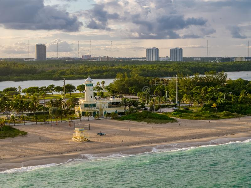 Aerial photo sunset over Haulover Beach Miami FL. USA stock photo