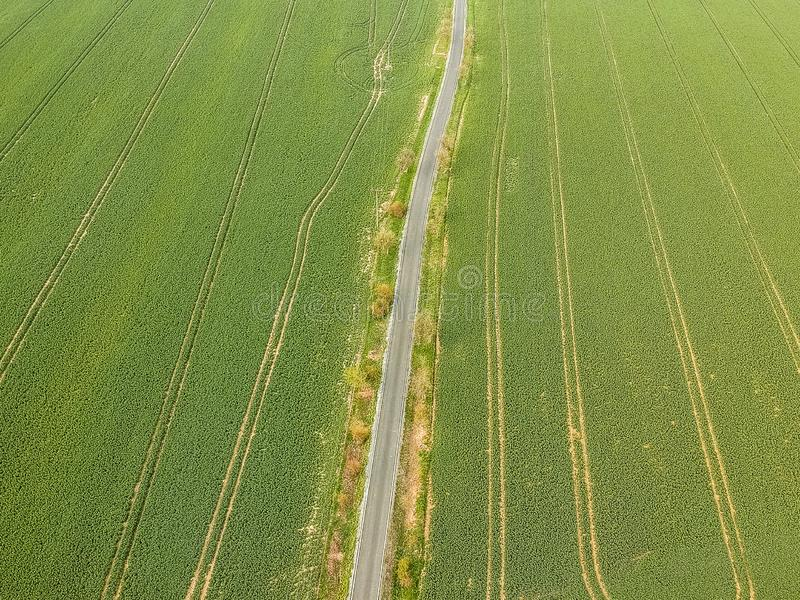 Aerial photo of tar road and electric line between two green fields. Airplane photo of asphalt road in fresh spring green fields with electric line royalty free stock image
