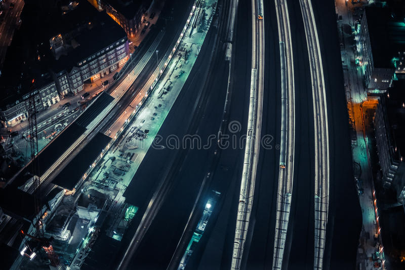 Aerial Photo Of Train Station During Night Hours Free Public Domain Cc0 Image