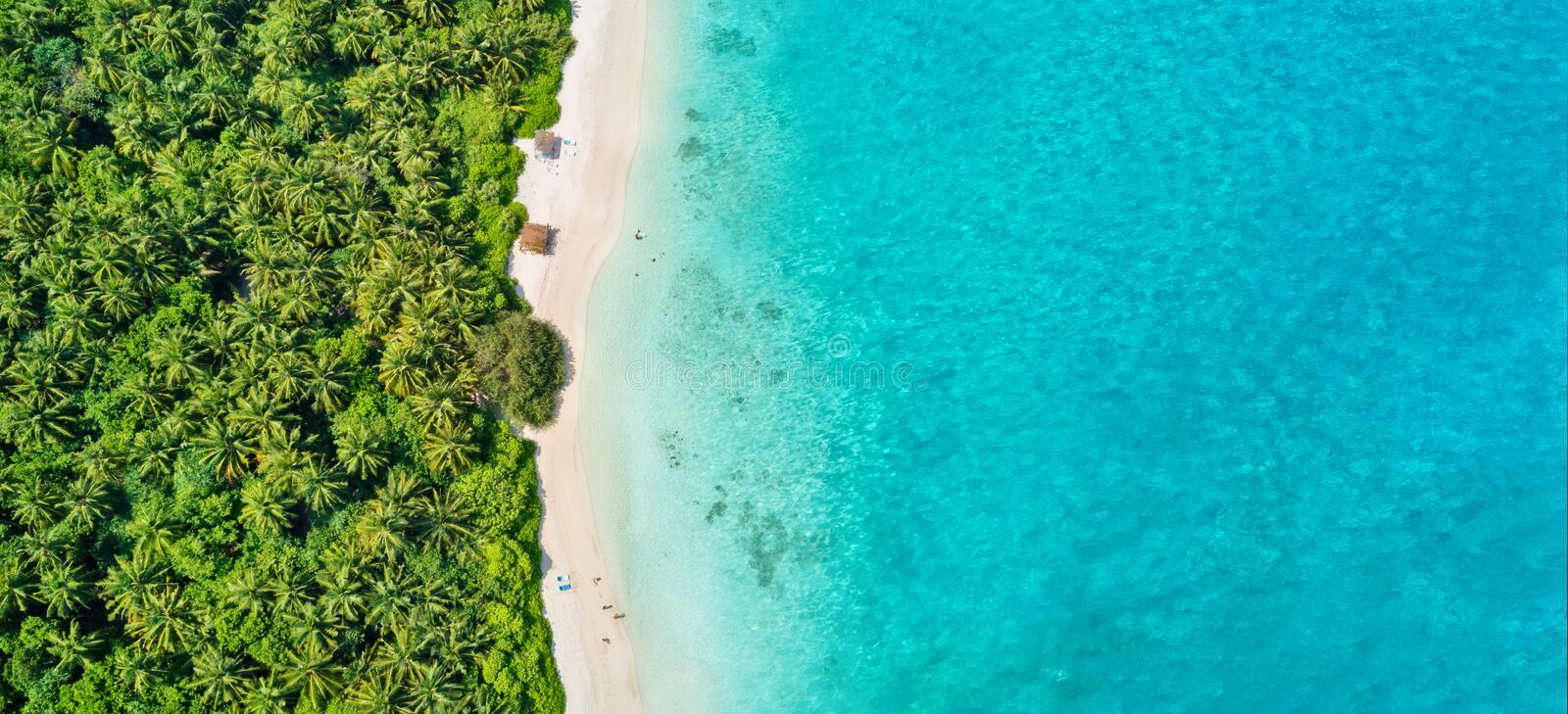 Aerial photo of tropical Maldives beach on island stock image