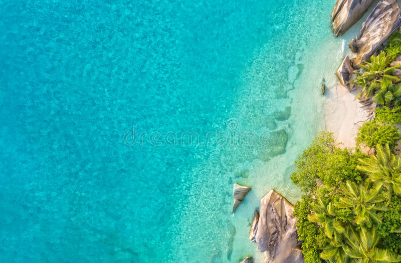 Aerial photo of tropical Seychelles beach at La Digue island. Aerial photo of beautiful paradise Seychelles tropical beach Anse Source D Argent at La Digue royalty free stock images
