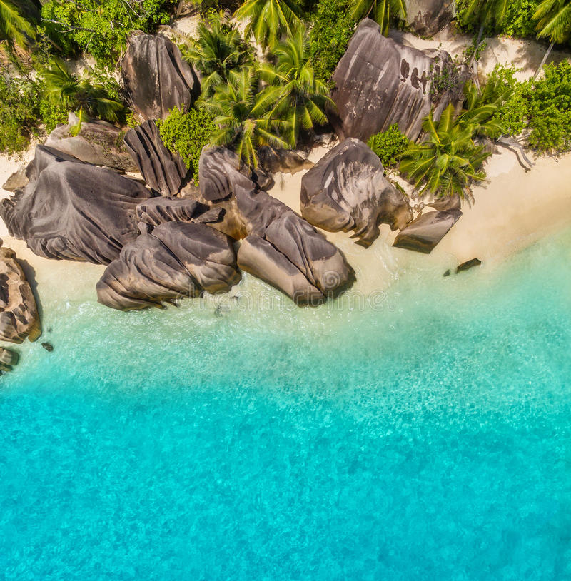 Aerial photo of tropical Seychelles beach at La Digue island stock images
