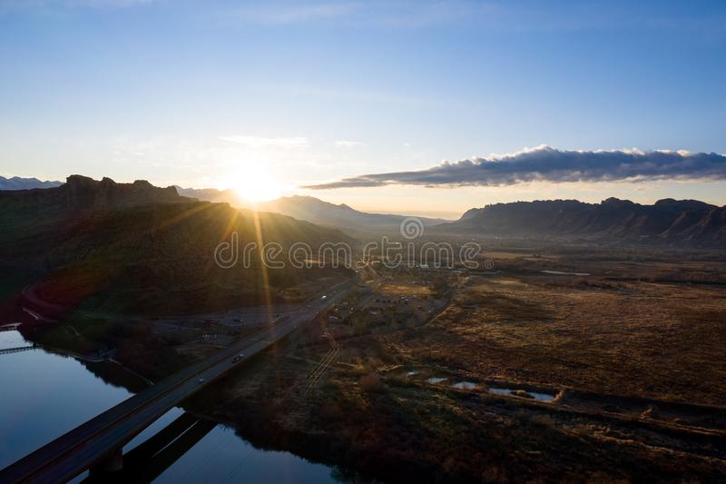 Aerial view sunrise with sunrays in Moab Utah stock photography