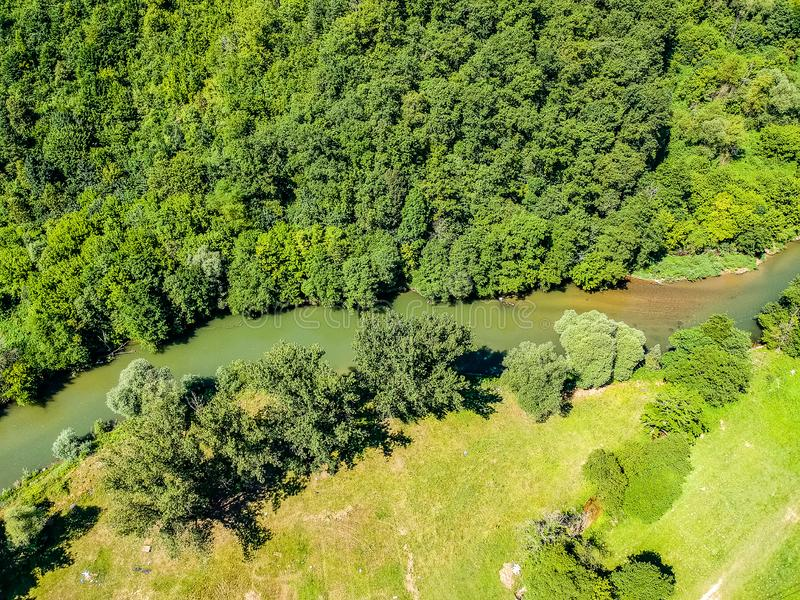 Aerial photo of Vrbas river in Bosnia and Herzegovina.  stock photos