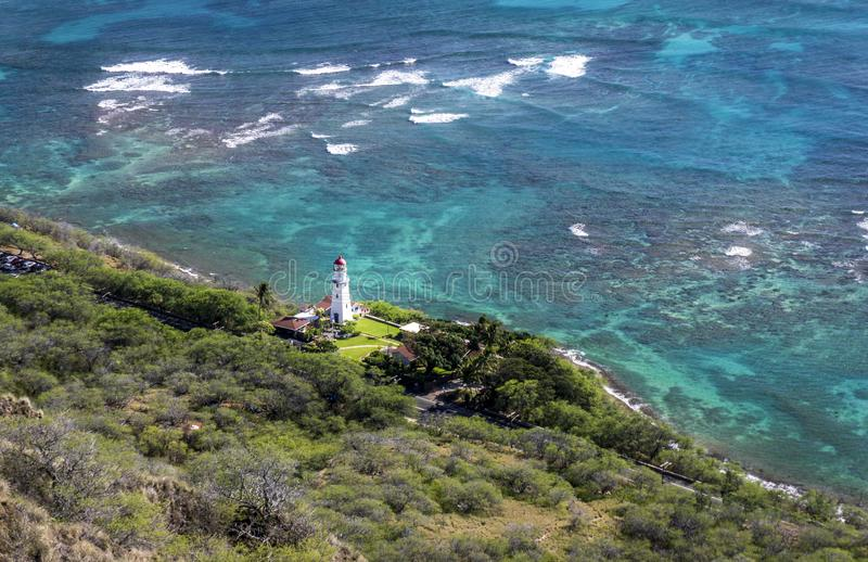 Aerial Photo of White Lighthouse Near Beach and Trees stock image