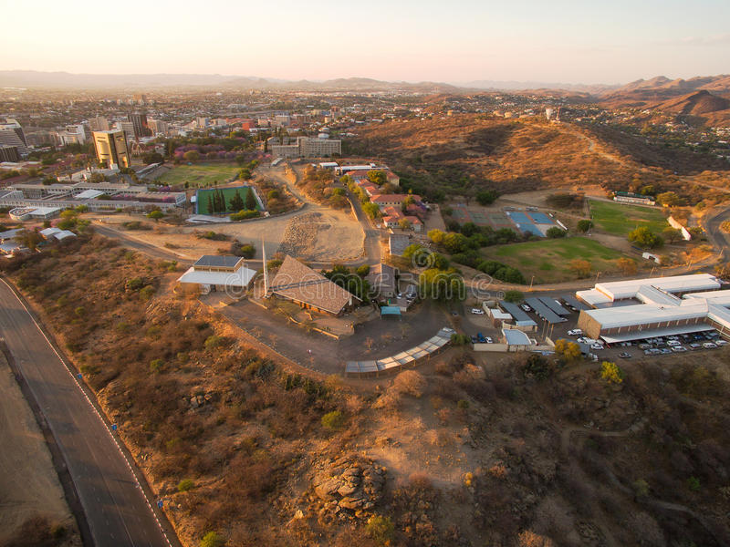 Aerial photo of Windhoek and town centre view. In Namibia, taken by Phantom drone royalty free stock photo