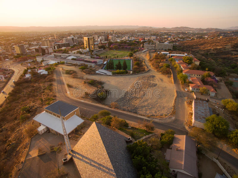Aerial photo of Windhoek and town centre view. In Namibia, taken by Phantom drone from above - sky view and sunset royalty free stock photography