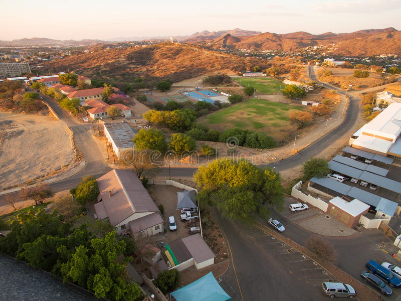 Aerial photo of Windhoek and town centre view. In Namibia, taken by Phantom drone from above - sky view and sunset royalty free stock photo