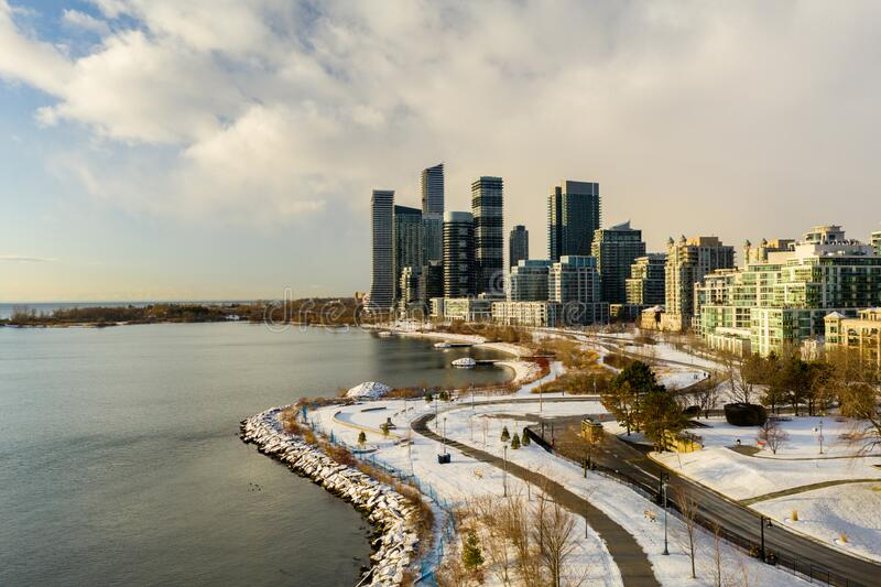 Aerial photo winter at Humber Bay Shores Park Toronto ON Canada. USA stock photo