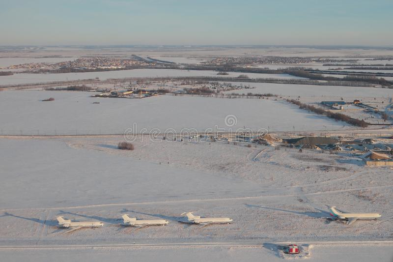 Aerial photograph, airfield and adjacent territories in winter. Kazan, Russia. 2018-01-05 royalty free stock images