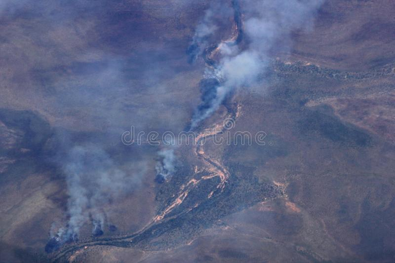 Aerial photograph of the bushfires in the Outback, Australia. Aerial photograph of the bushfires in the Australian Outback royalty free stock photos