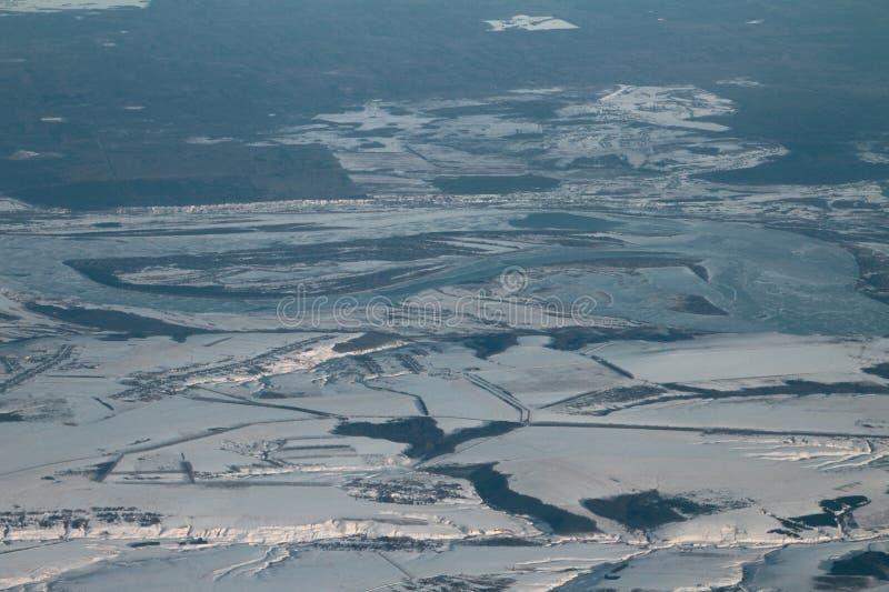 Aerial photograph, Chuvash Republic and Volga River. Soldybayevo, Pindikovo, Russia. 2018-01-05 royalty free stock images