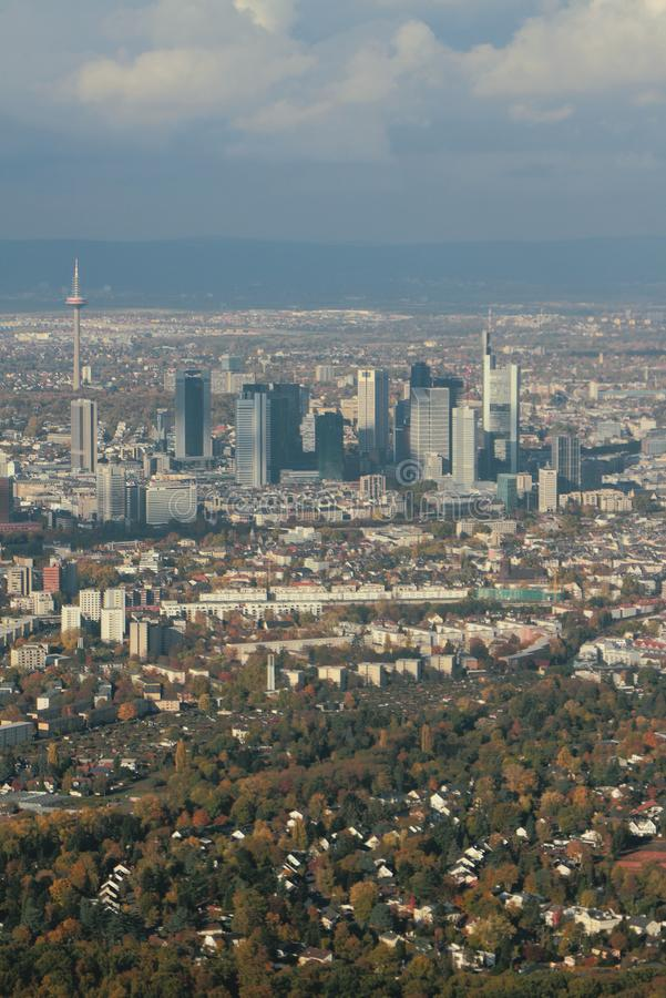 Aerial photograph, city and business center. Frankfurt am Main, Germany. 2018-11-02 royalty free stock photo