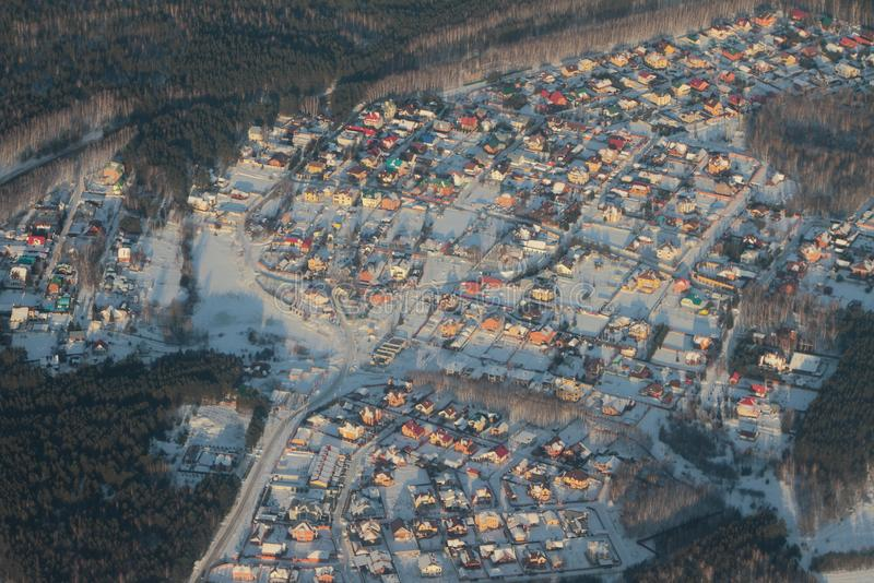 Aerial photograph, cottage settlement in winter. Kazan, Russia. 2018-01-05 royalty free stock photo