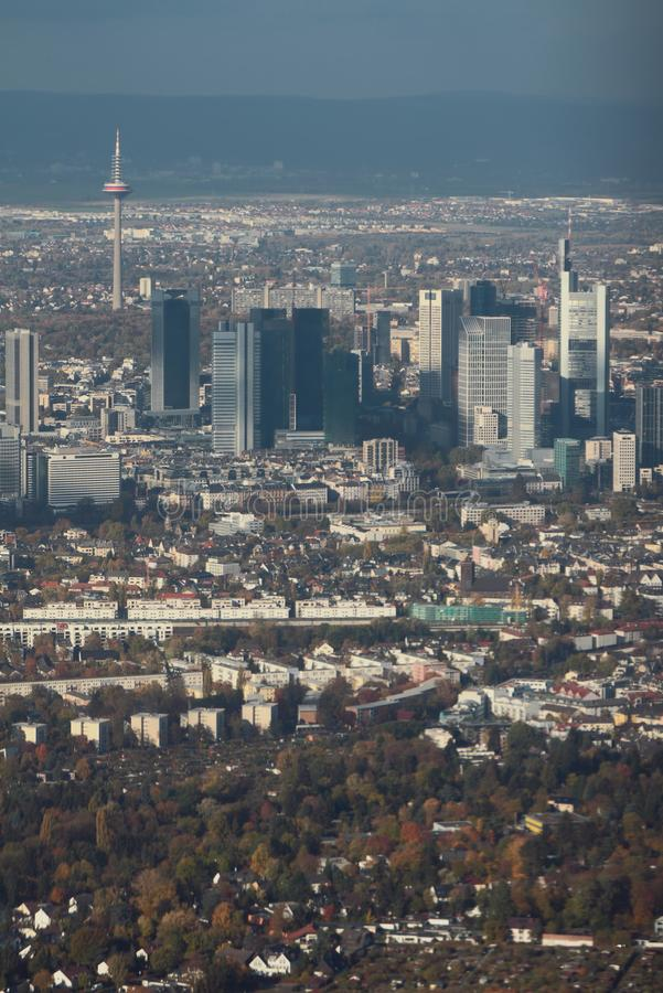 Aerial photograph, downtown of european city. Frankfurt am Main, Germany. 2018-11-02 stock images