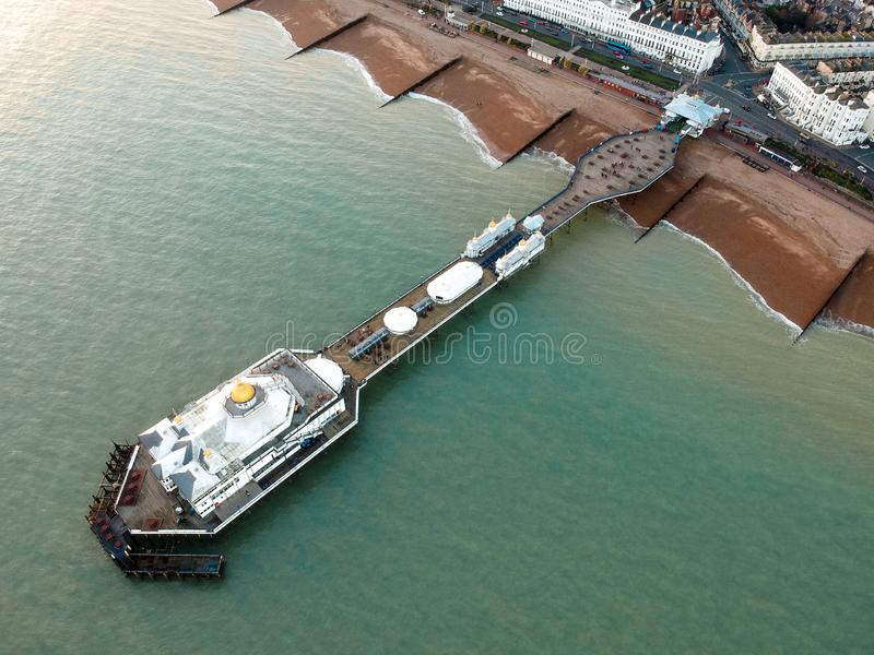 Eastbourne Pier, United Kingdom - Aerial Photograph. Aerial photograph of Eastbourne Pier during sunset, United Kingdom royalty free stock images