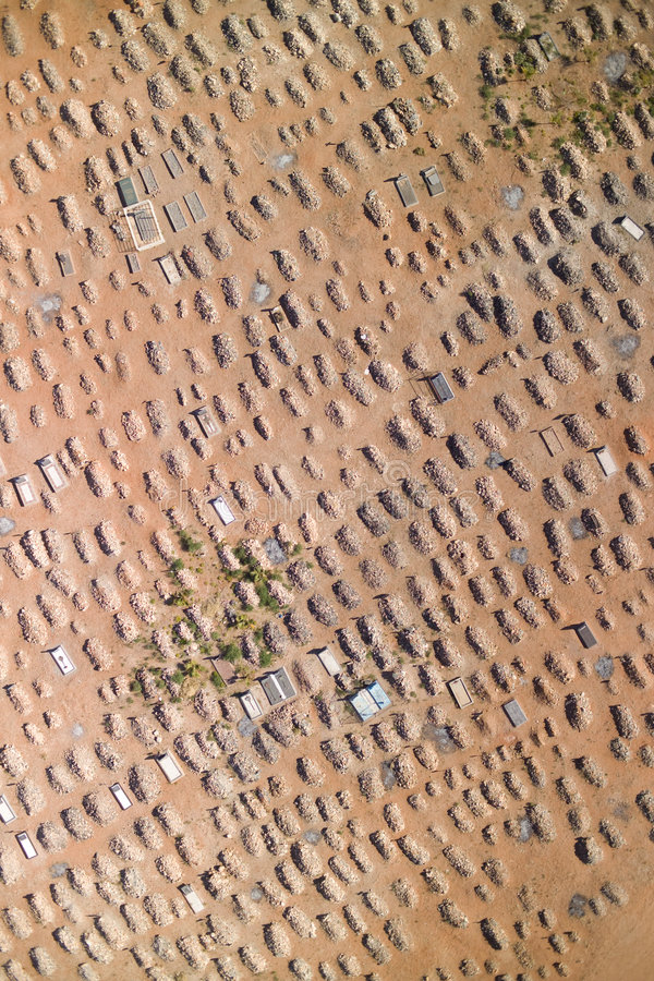 Aerial photograph of a graveyard. In South Africa royalty free stock photos