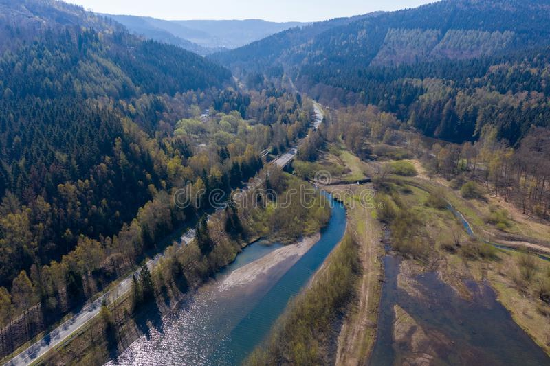Aerial photograph of the inlet of a dam with the shallow water zone. Drone royalty free stock photo