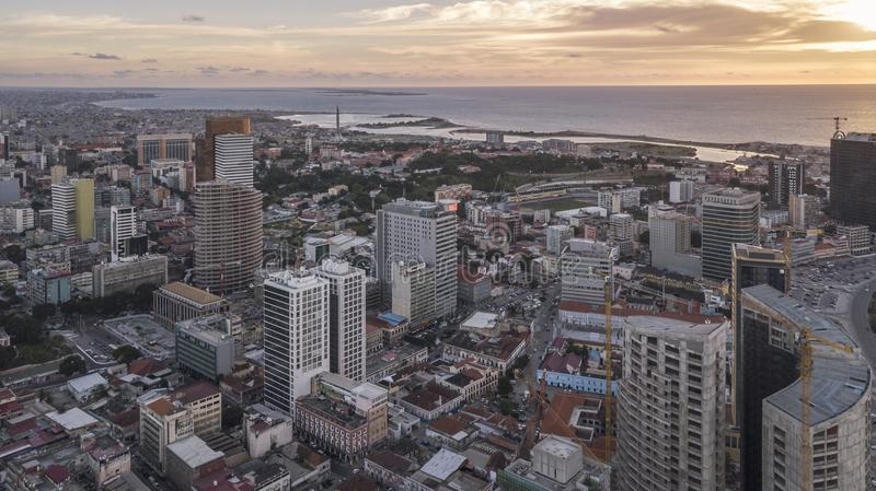 Aerial photograph of the marginal of Luanda, Angola. Africa.Difference between new and old buildings. Africa royalty free stock photos