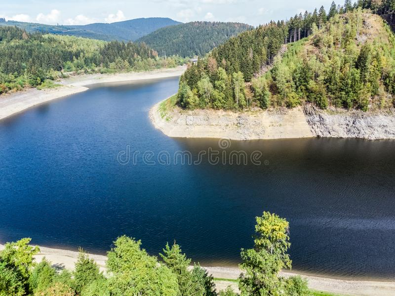 Aerial photograph of the Okertalsperre dam in the Oberharz between Clausthal-Zellerfeld and Goslar, taken with the drone. Aerial photograph of the Okertalsperre stock images