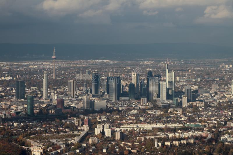 Aerial photograph, panorama of city and business center. Frankfurt am Main, Germany. 2018-11-02 royalty free stock photos
