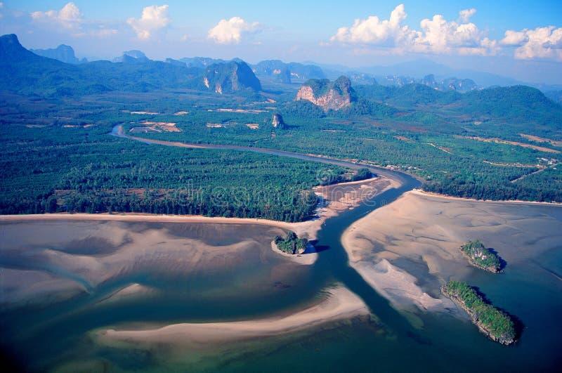Aerial photograph At sea Phang Nga Bay. Aerial photograph At sea Phang Nga Bay See the curve of the channel Photo The novel royalty free stock image