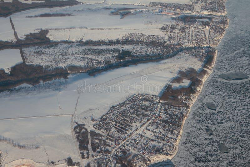 Aerial photograph, settlements of Matyushino and Klyuchishchi on bank of Volga. Kazan, Russia. 2018-01-05 stock photos