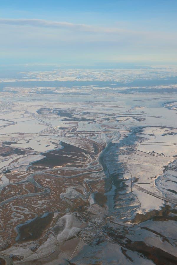Aerial photograph, Sviyaga River before confluence with Volga. Kazan, Russia. 2018-01-05 stock image