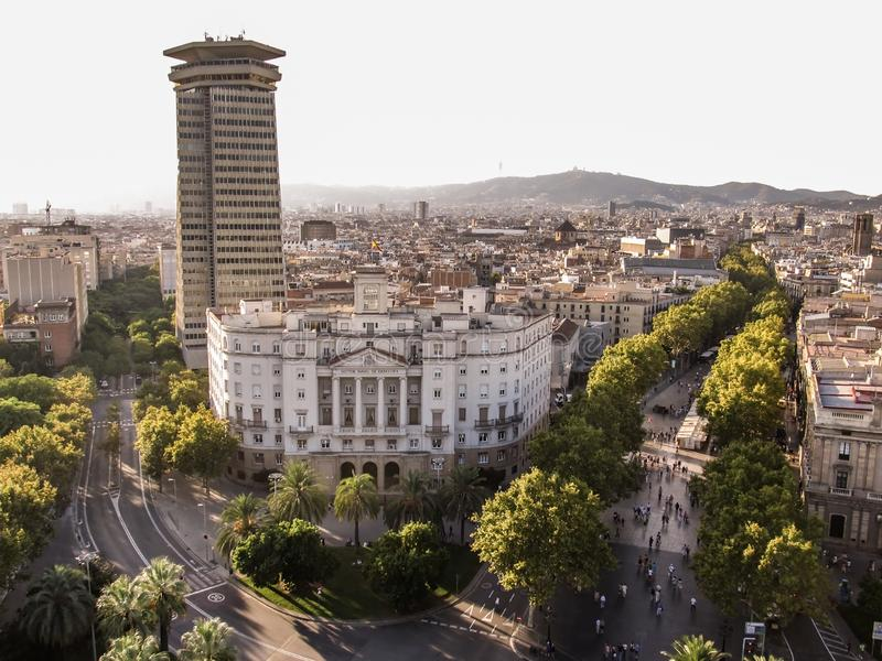 The aerial photograph. View of the main pedestrian street Spain, Barcelona-September 16, 2011.  royalty free stock photography