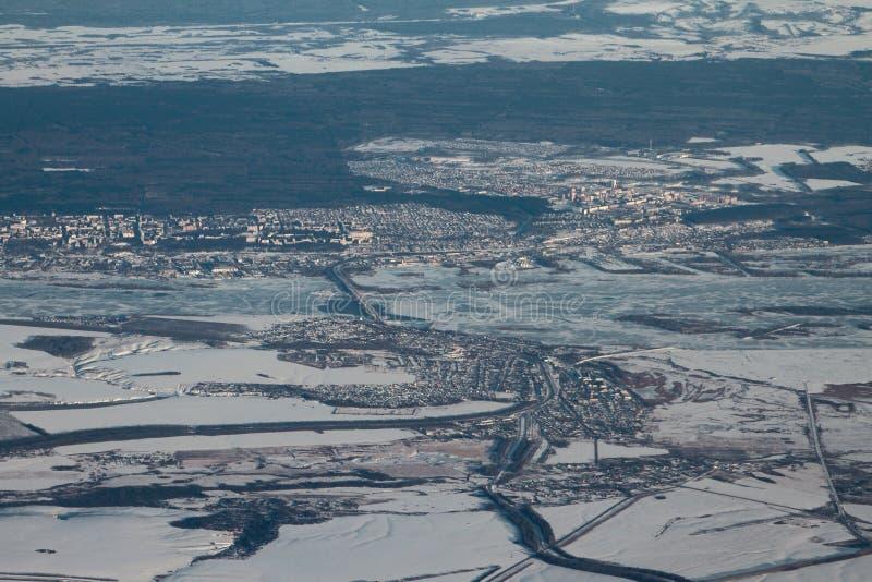 Aerial photograph, Zelenodolsk region of Republic Tatarstan. Kazan, Russia. 2018-01-05 stock images
