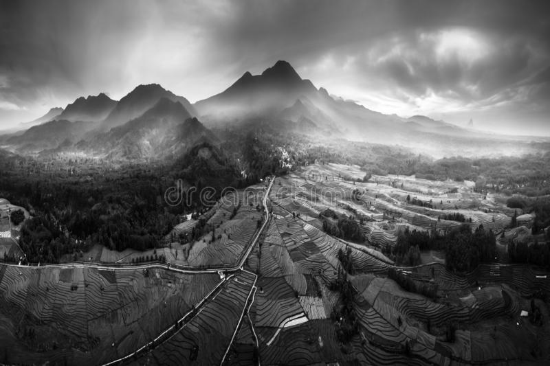 Aerial photographs of extraordinary mountains range, black and white, north bengkulu. indonesia stock photo