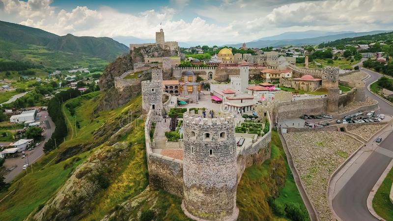 Aerial photography for Akhaltsikhe Old Castle in Georgia. Great location for travelers and tourists attraction royalty free stock image