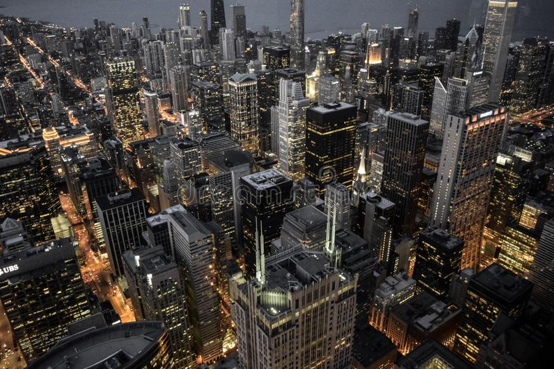 Aerial Photography of Building City Lights stock image
