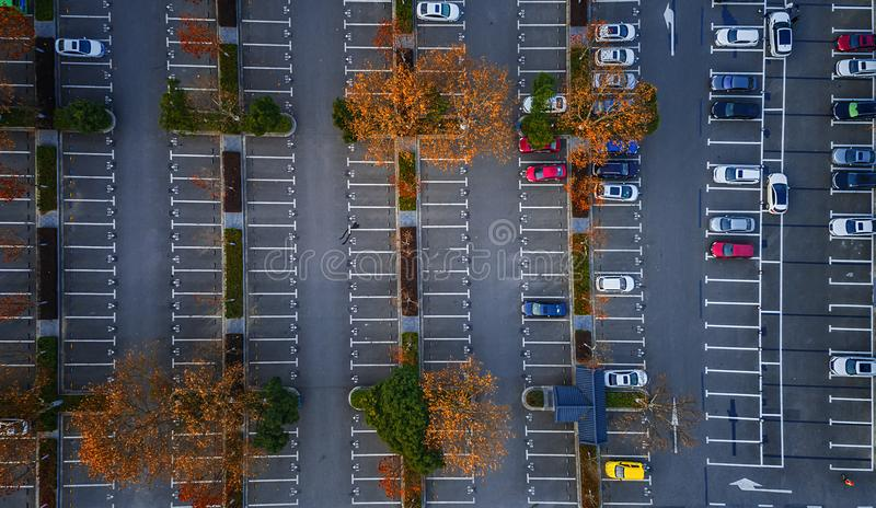 Aerial photography - car parking royalty free stock image