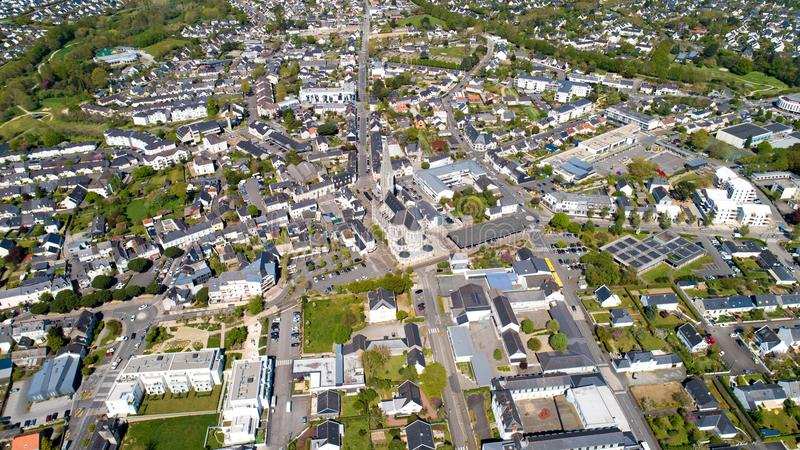 Aerial photography of Carquefou city center in Loire Atlantique royalty free stock image