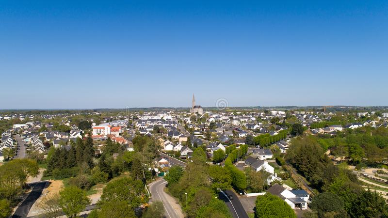 Aerial photography of Carquefou city in Loire Atlantique stock image