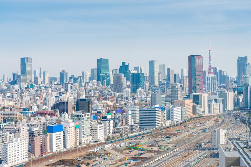 Aerial photography , Cityscape overlooking Tokyo, Japan royalty free stock image