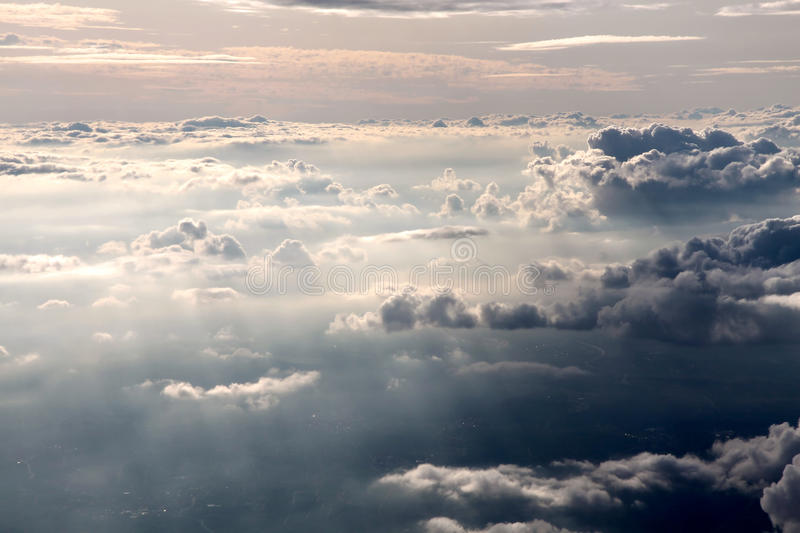 Aerial photography with clouds. Aerial photography of clouds in the evening royalty free stock images