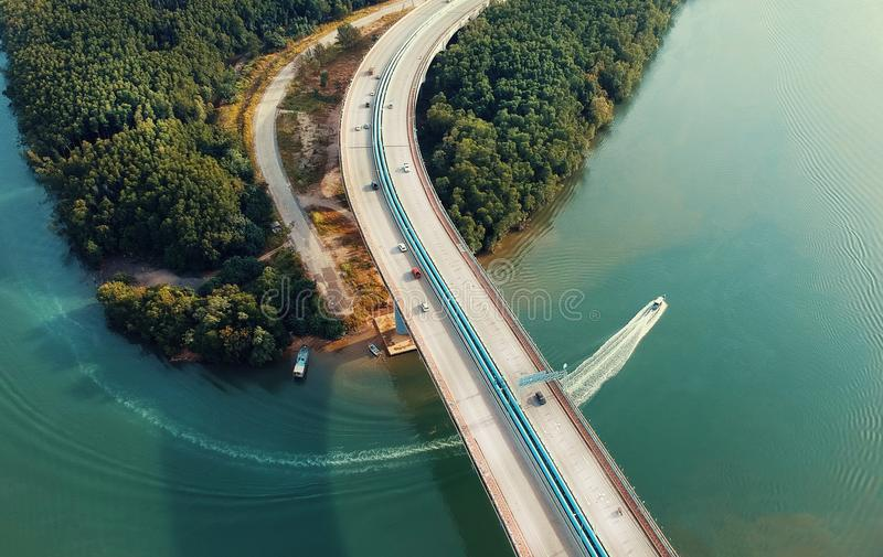 Aerial Photography of Concrete Bridge royalty free stock photos