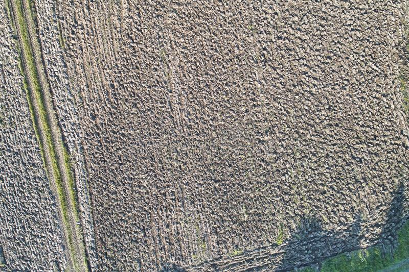 Aerial photography with a drone. The field is prepared for planting.  royalty free stock images