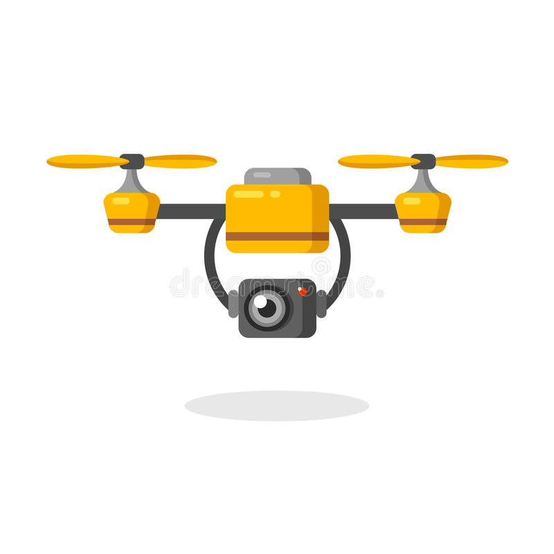Aerial photography drone. Quadcopter aerial drone with camera for photography or video surveillance. Flat cartoon vector illustration