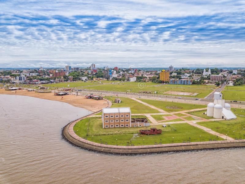Aerial photography of Encarnacion in Paraguay overlooking the San Jose beach. Aerial view of Encarnacion in Paraguay overlooking the San Jose beach royalty free stock photography
